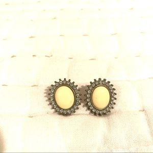 Pale Yellow and Rhinestone Studs